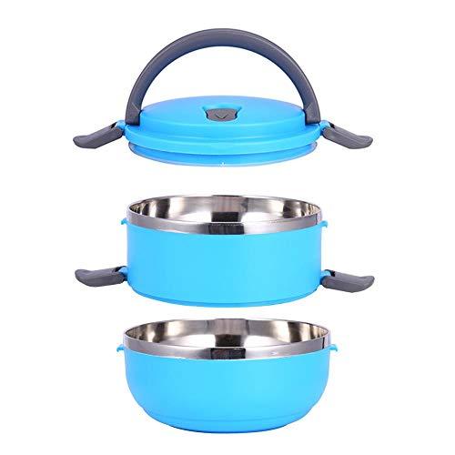 Fiambrera portátil de acero inoxidable con aislamiento térmico aislamiento interior de fugas prueba 1/2/3/4 compartimientos con contenedores de alimentos mango para alimentos (2 Layer, azul)