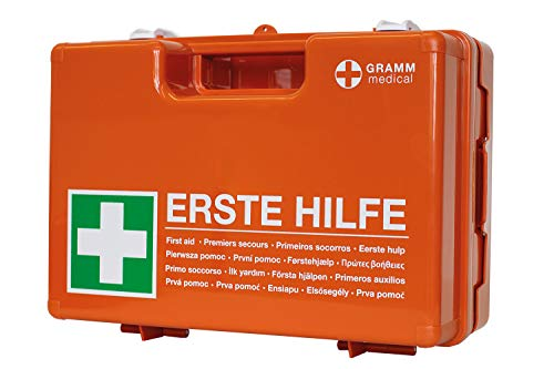 GRAMM medical 418.035.00400 Verbandkoffer mit Wandhalterung, orange, 42 x 33 x 15 cm