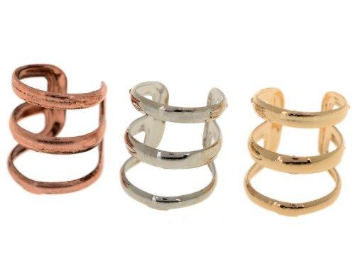 3pcs Gold & Silver & Bronze Tone Cartilage Helix Ear Cuff 3 Hoops Earrings
