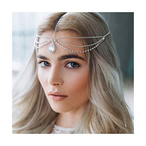 A&C Boho Rhinestones Head Chain Silver Sparkly Crystal Headband Handmade Adjustable Headpiece Accessories Jewelry for Womne and Girls
