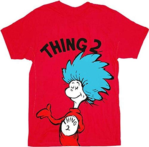 Dr. Seuss Thing 1 or Thing 2 Erwachsene rot T-shirt (X-Small, Thing 2)