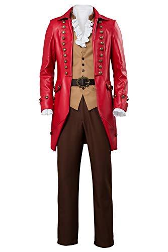 Bilicos La Bella y la Beast Bestia Beast Traje Prince Cosplay Disfraz Hombre Rojo XXXL