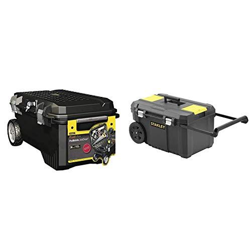 STANLEY FATMAX 1-94-850 ProMobile- Arcon de Transporte, con Ruedas y Mango Telescópico, Capacidad 113 L + STST1-80150 Arcón para herramientas con cierres metálicos