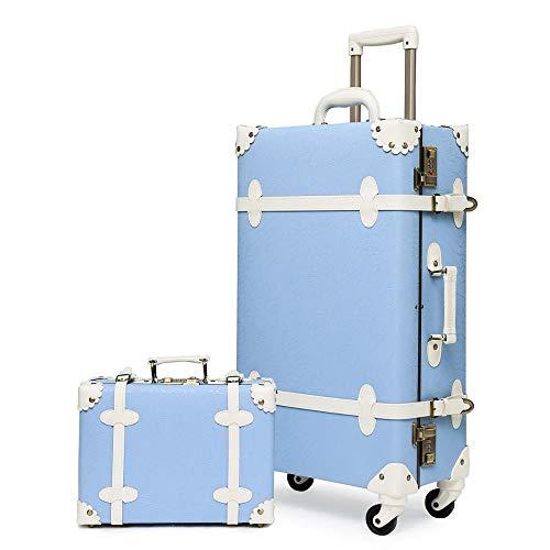Maleta Conjuntos de equipaje vintage de 2 piezas con ruedas giratorias y cerraduras de combinación, maleta retro linda para la escuela Para viajes de negocios ( Color : Blue , Luggage Size : 26' )
