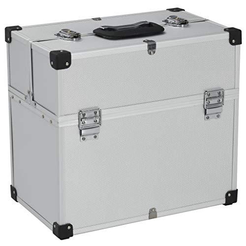 UnfadeMemory Caja de Herramientas para Almacenar y Transportar Herramientas,Aluminio (43,5x22,5x34cm Plateado)