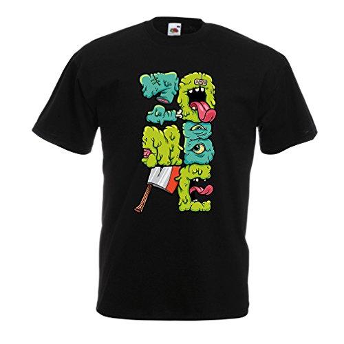 Camisetas Hombre Zombi Regalo del Friki Idea para un Regalo Inusual (Medium Negro Multicolor)