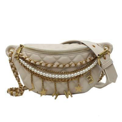 Mdsfe Monochrome Brusttasche Kette weibliche Umhängetasche PU Leder Perlen Umhängetasche Brief Hüfttasche Handtasche weibliche Designerin - Gold