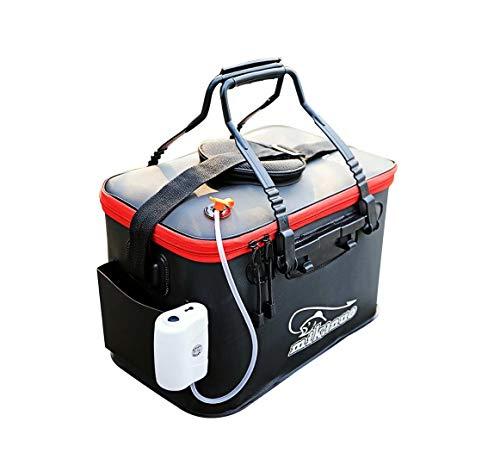 Tragbare Angeltasche EVA Angeln Wassereimer faltbar Lebende Fischbox Wasserbehälter faltbar Angeln Wassertank für Reisen Wandern Angeln (schwarz), M-45 cm