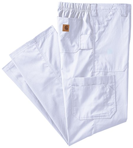 Carhartt Size Ripstop Men's Multi-Cargo Scrub Pant, White, Medium Tall