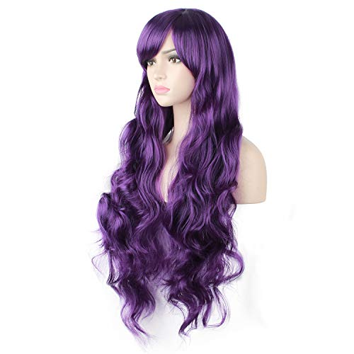 DAOTS 32' Cosplay Wigs Long Wig Hair Heat Resistant Curly Wave Hairs for Women (Purple)