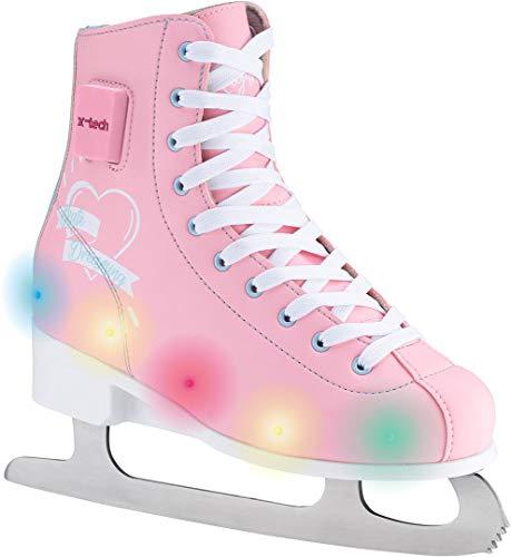 X-TECH Ice Princess LED Schlittschuh stufenlos größenverstellbar mitwachsend Blinklichter (pink/lightblue/White, 35-38)