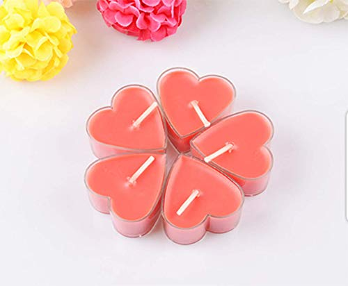 Aromatherapy Scented Candles- Creative Exquisite Heart-Shaped Candle, Incense Romantic Tea Wax for Birthday/Candlelight dinner/Valentine's Day (9pc, Red)