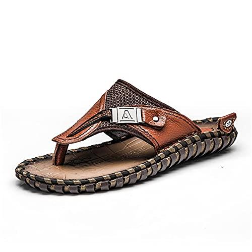 Sandalias de cuero de los hombres de verano de la moda de lujo Flip Flops Casual Zapatillas Planas de Playa Zapatos para Adultos Masculinos