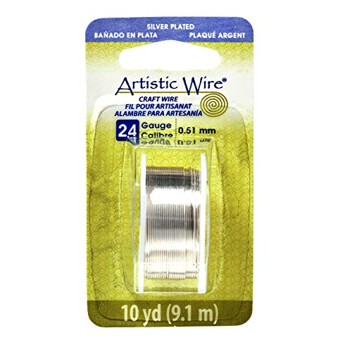 Artistic Wire-Colored Wire, 24 Gauge 10 Yards/Pkg, Natural Non-Tarnish Silver