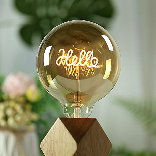 YANUODA Vintage Led Bulb G125 Big Globe 4W Regulable Alfabeto Filamento Colgante Lámpara de mesa Bombilla Bombillas de luz decorativas 220 / 240V E27 (Stand Hello)
