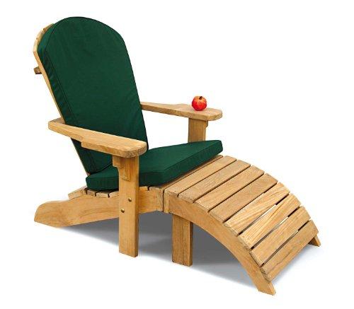 Jati Adirondack Bear Chair - Teak Garden Lounger Chair with Green Cushion Brand, Quality & Value