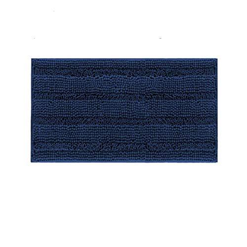 DomoWin Alfombra De Baño, Alfombra de Baño Antideslizante Alfombrillas Absorbente Tapete del Piso de Microfibra de Chenilla Lavable a Máquina Alfombra de Ducha (Azul Marino, 43_x_60_cm)