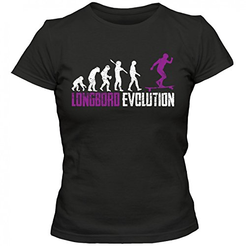 Longboard #1 T-Shirt | Down Hill | Skate | Surf | Frauen | Shirt, Farbe:Schwarz (Deep Black L191);Größe:S