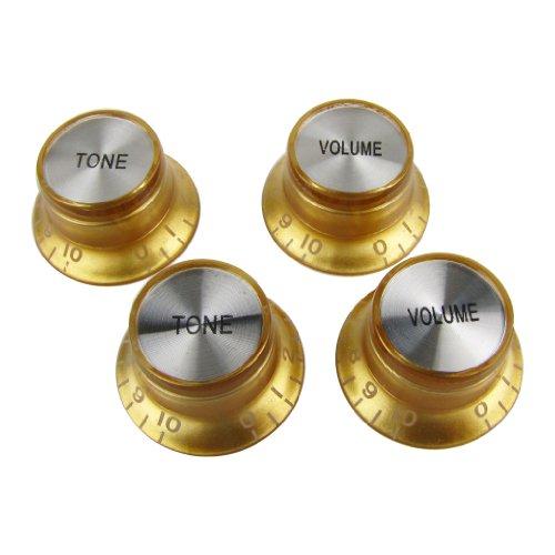 IKN 2 Tone 2 Perillas de volumen Set Top Hat Bell Plastic Guitar Tone Volume Speed Control Knobs para SG Les Paul Style Guitar, Dorado