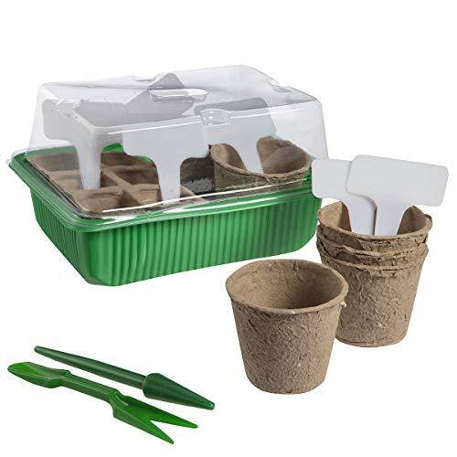 Wedestock Kit démarrage de semences avec Mini Serre, Godets en Fibre biodégradable, étiquettes de marquage et 2 Outils