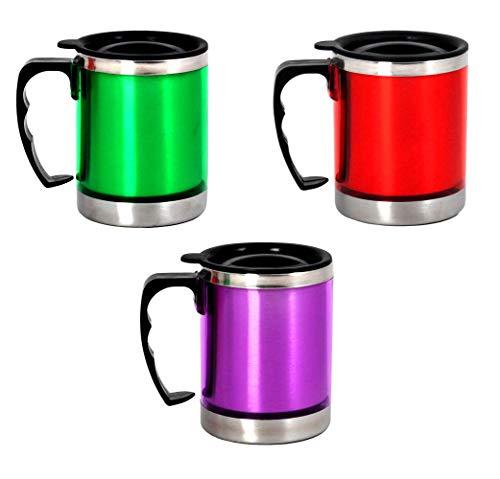 KS-Direkt Edelstahl Iso-Becher 300ml Tasse Thermobecher Kaffeetasse Kaffeebecher (1xRot 1xGrün 1xLila)