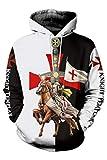 Bilicos Abrigo con Capucha Sudadera con Capucha Unisex Templar Knights Armadura Medieval Caballeros Templarios