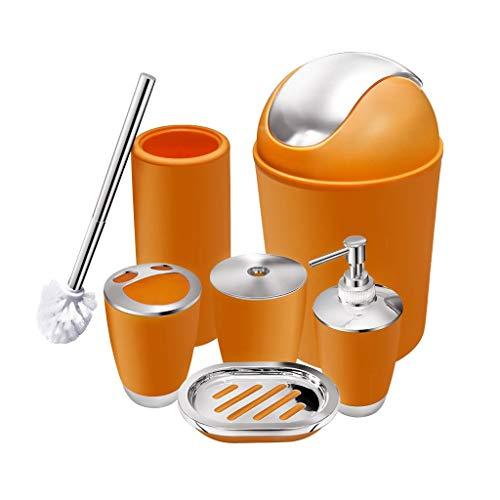 CNKOBE 6 Pcs Plastic Bathroom Accessory Set Luxury Bath Accessories Bath Set Lotion Bottles, Toothbrush Holder, Tooth Mug, Soap Dish, Toilet Brush, Trash Can, Rubbish Bin (Orange)