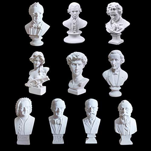 zamonji 10Stk Mini-Klassik Komponist Musiker Musiker Harz Büste Statuen Skulptur Puppenhauszubehör Schreibtischdekoration