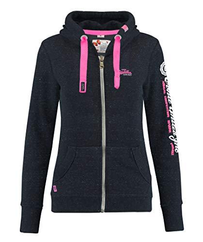 M.Conte Rachel Damen Hooded Sweater Sweat-Shirt-Jacke S M L XL Weiss Blau Grau Schwarz Pink Mit Kapuze Schwarz Black Melange S