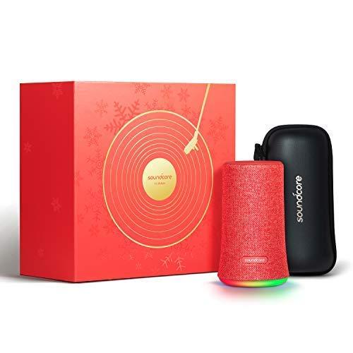 Soundcore Flare Bluetooth Lautsprecher, Limited Edition Speaker mit 360 Rundum-Sound, IPX7 wasserdichte, 12 Stunden Spielzeit, Fantastischer Bass, Stimmungs-LED-Licht(Rot) (Generalüberholt)