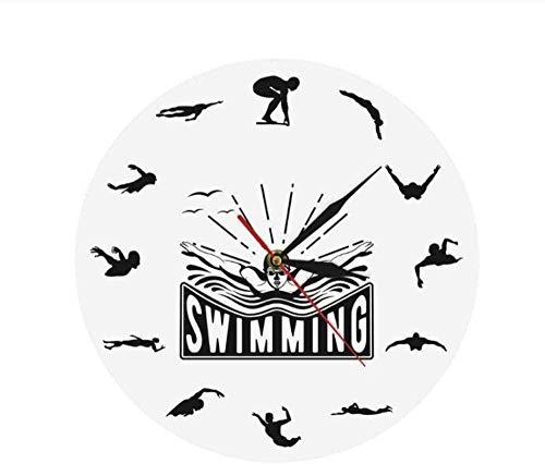 ZAWAGU Reloj de pared DIY 3D Gift Art Vinilo Natación Deporte Flotante Viaje Buceo Nadador Decoración para el hogar Sala de estar Entrenador de natación