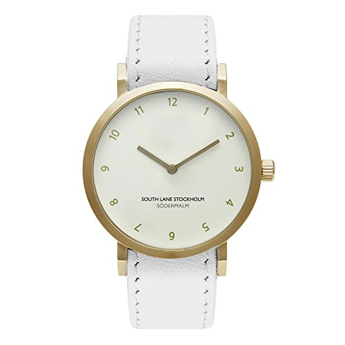 South Lane Sodermalm Gold Stainless Steel Quartz Watch with Leather Calfskin Strap, White, 20 (Model: W17 23)