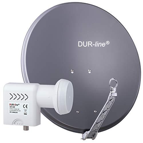 DUR-line 24 Teilnehmer Unicable-Set - Qualitäts-Alu-Satelliten-Komplettanlage - Select 75cm/80cm Spiegel/Schüssel Anthrazit + Unicable LNB(UK 124) - für 24 Receiver/TV [Neuste Technik, DVB-S2, 4K, 3D]