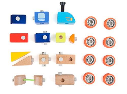 Houten bouwpakket spoorwegen, voor kleine lokale gids, in alle combinaties met aanhangers en rubberen banden. Standaard