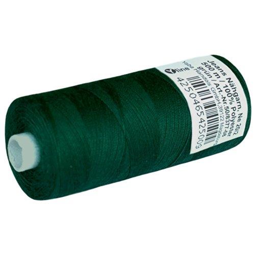 1 Stück Spule a. 500 m Jeans - Nähgarn, Jeansfaden grün, NE 20/2, 100{47248222a519c6b6c6c6b1e7b3b308d0bf1506e5ebbd5e4ff932082745b7e852} Polyester, Nähmaschinen Garn Garne, 2500-08