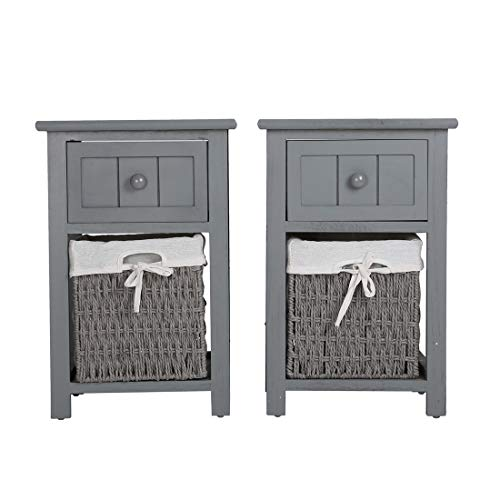 Queiting Bedside Table Set of 2 Shabby Chic Wooden Night Stand Storage Units Cabinets With Wicker Storage Basket For Bedroom Living Room Dark Grey 31 x 28 x 45cm