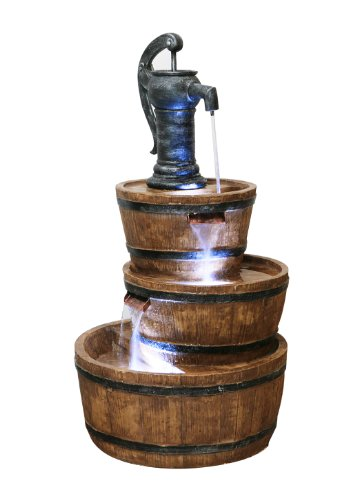 Primrose London 3-Tier Barrel and Pump Water Feature with LED Lights by Ambienté