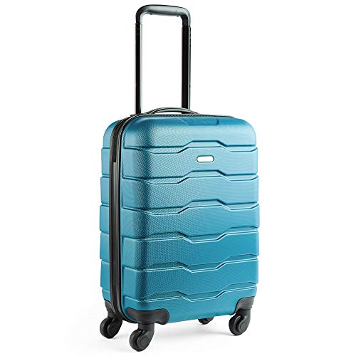 VonHaus Lightweight Travel Carry on Hand Cabin Luggage Hard Shell Cabin Suitcase Trolley Bag 55cm- Approved for Easyjet Ryanair Flybe, Teal