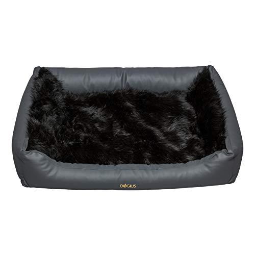 Hundebett mit Abnehmbarer Decke (S, Kunstleder grau - Kunstfell Gorilla)