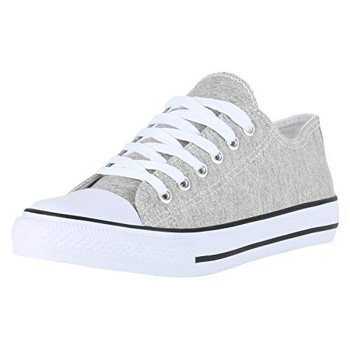 SCARPE VITA Damen Sneaker Low Basic Turnschuhe Schnürer Freizeit Schuhe Canvas Stoff Schnürschuhe 172816 Hellgrau Low 40