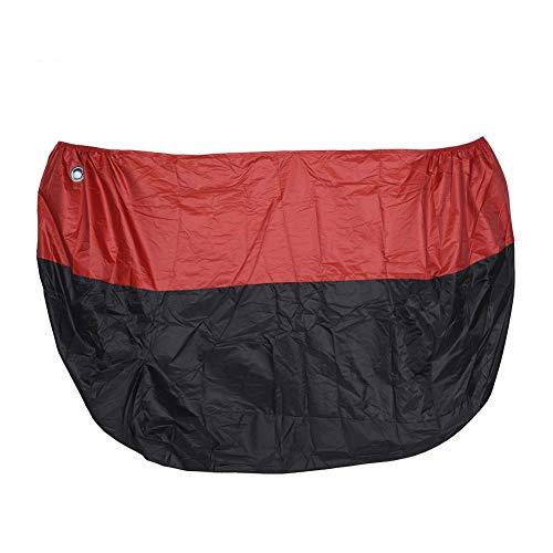 Qiilu Motorhoes, Stofdichte Volledige Cover Regen UV-bescherming voor 1.8 meter/5.9ft 50CC Motorcycle Scooter(rood)