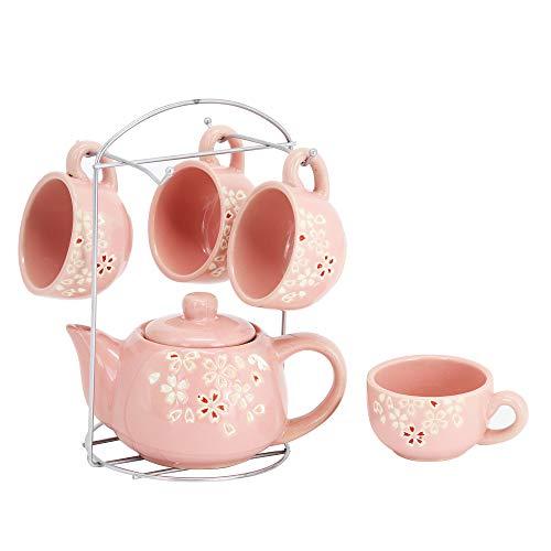 ufengke 6 Stück Pflaumenblüten Keramik Teeservice für Erwachsene,Kinder, Kinder Teeservice,Kleines Kaffee Teeservice mit Blumenmuster,Rosa