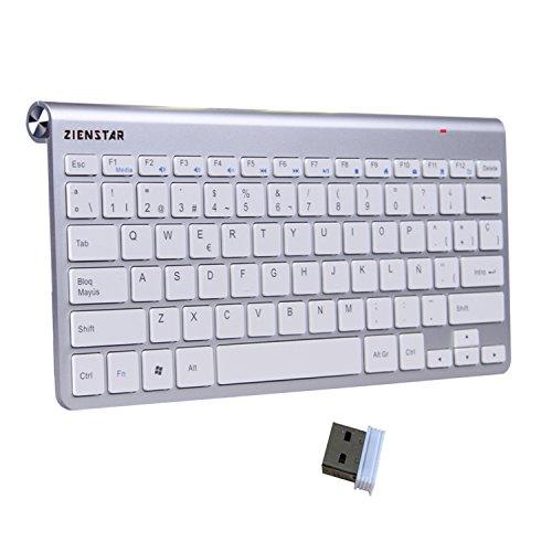 Zienstar -2.4Ghz Teclado Inalámbrico con Receptor USB para la Computadora, el Ordenador Portátil, la Caja de la TV y el Smart TV (Español Carta)