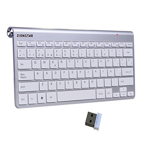 Zienstar -2.4Ghz Teclado Inalámbrico con Receptor USB para...