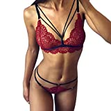Intimates for Women, Fashion Women Sissy Lace Sexy Lingerie Straps Bra And Panty Bandage Set Babydoll, Woman Sexy Underwear (Wine L)