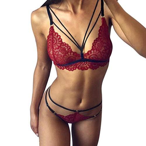 Amoyl Damen Sexy Spitze Dessous Set Durchsichtige Träger BH Mit G String Hohe Taille Erotische Dessous Nachtwäsche Unterwäsche (Wein, M)
