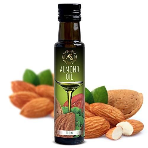 Aceite de Almendras Dulces 100ml - Refinado - Italia - 100% Puro y Natural - Aceite de Almendra Comestible Natural los Mejores Beneficios para Cocinar - Botella de vidrio - Almond Oil
