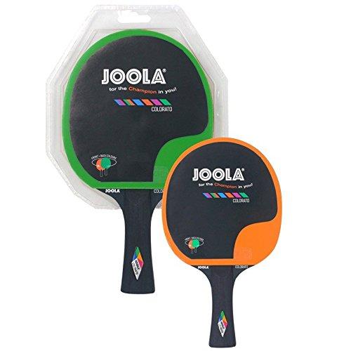 JOOLA Tischtennisschläger COLORATO Tischtennis-Schläger Hochwertiger Freizeit Attraktives Design-5fach verleimtes Spezialsperrholz, Grün/Orange, 2,0 MM Schwamm