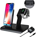 Co-Goldguard Phone Wireless Charger Stand 2 in 1 Charging Dock Fit for Watch Series 1 2 3 Compatible with iPhone X XS MAX XR 8 Plus Black Blue