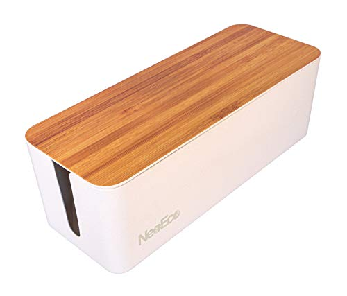 Neo-Eco Cable Management Box - Cord, Wire, Router, and Power Strip Case for Safety and Organization - Made of Renewable Natural Materials - Stylish, Decorative Design Blends with Home and Office Decor